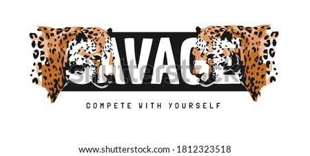 savage slogan with leopard head illustration Stock photo ©