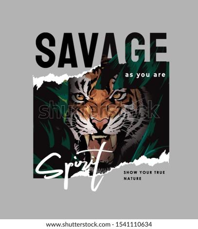 savage slogan with tiger face illustration Stock photo ©