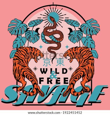 "Savage wild and free slogan vintage print design with tigers and snake illustration, Translation ; ""Tokyo"""