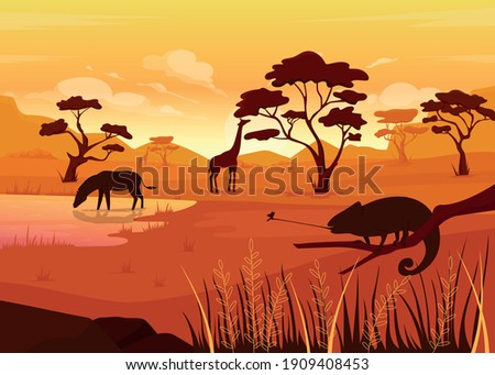 Savana flat color vector illustration. Place where lots of animals live. Peaceful place with big river. Beautiful nature with animals 2D cartoon landscape with big mountains on background Foto stock ©