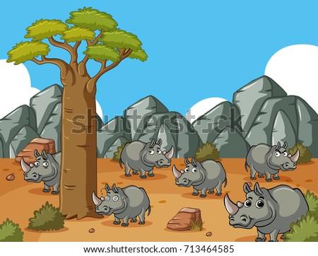 Savanna field with many rhinos illustration