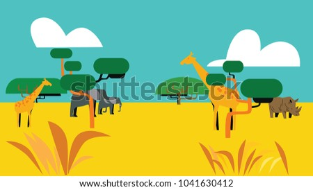 Savanna nature vector illustration landscape outdoor