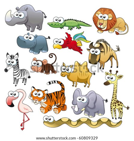 Savannah animal family Funny cartoon and vector characters.