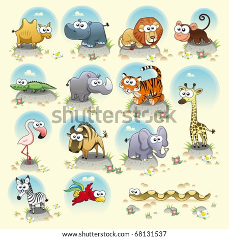 Savannah animals Funny cartoon and vector characters Isolated objects