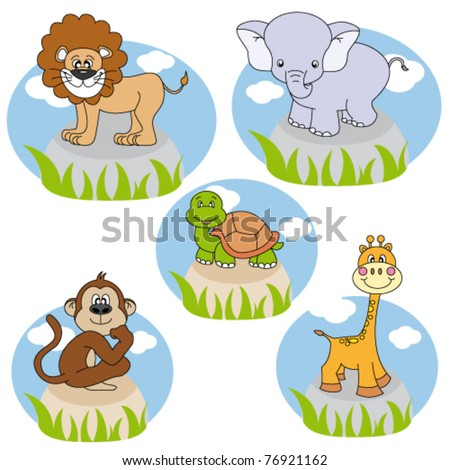 Savannah animals. Funny cartoon and vector characters. Isolated objects
