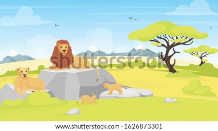 Savannah landscape flat vector illustration. African environment with lions lying on rock. Safari field with trees and creatures. Conservation park. South animals cartoon characters ストックフォト ©