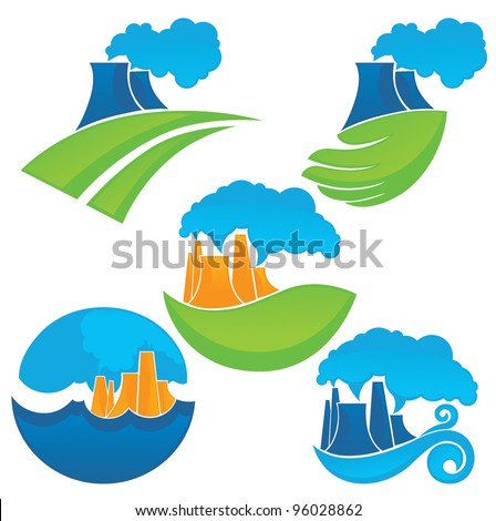 save clean world, vector symbols of pollution and dirty air