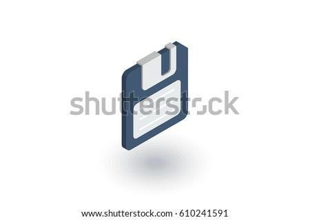 save data, diskette isometric flat icon. 3d vector colorful illustration. Pictogram isolated on white background