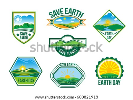Save Earth badges and symbols of green nature and planet clean environment. Design template for 22 April global ecology pollution protection Earth Day. Vector isolated set