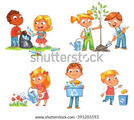 Save Earth. Waste recycling. Children planted young trees. Girl watering flowers from watering can. Kids gathering plastic bottles for recycling. Boy throws litter into bin. Isolated white background