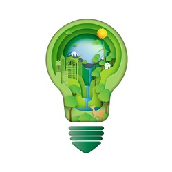 Save energy creative idea concept.Paper carve of light bulb with green eco city and environment conservation paper art style.Vector illustration.
