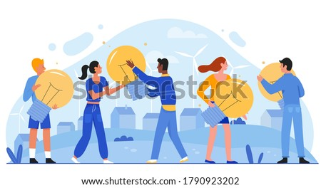 Save energy eco concept flat vector illustration. Cartoon tiny people holding light bulbs in hands, saving economy and ecology. Friendly environment innovation home green ecosystem isolated on white