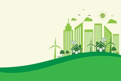 save energy the world development. environmental and ecology concept. vector illustration banner flat design. green city in landscape background. copy space for text input.