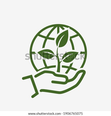 save environment icon. plant sprout and globe earth in hand. environmental and eco symbol. vector green color image in flat style Stock foto ©