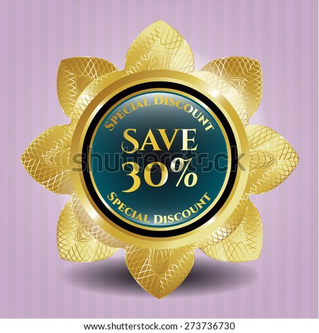 Save 30% gold shiny flower with pink background