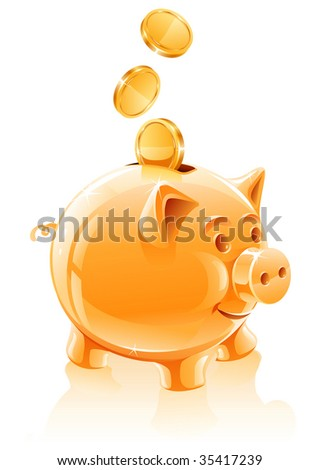 save money concept with piggy bank - vector illustration
