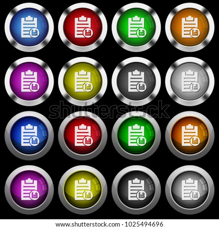Save note white icons in round glossy buttons with steel frames on black background. #1025494696