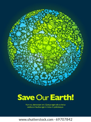 Save our Earth blue and green poster template - stock vector