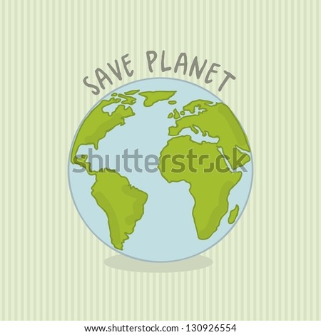 save planet over green background. vector illustration