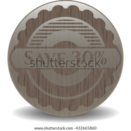 Save 30% retro style wood emblem