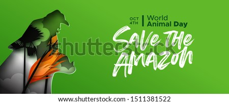 Save the amazon papercut web banner for world animal day. Paper cut jaguar cat roaring with mouth open and forest fire landscape. Endangered species conservation or rainforest deforestation concept.