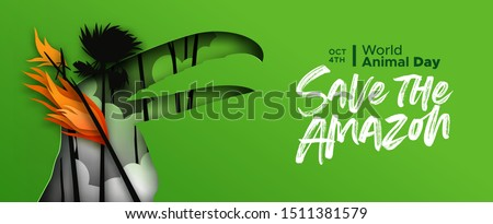 Save the amazon papercut web banner for world animal day. Paper cut toucan bird with forest fire landscape in 3d cutout style. Endangered species conservation or rainforest deforestation concept.