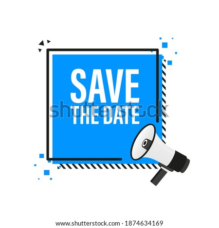 Save the data megaphone blue banner in 3D style on white background. Vector illustration. Stockfoto ©
