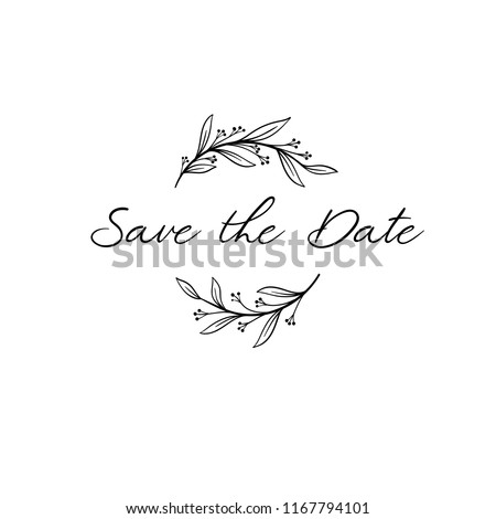 Save the Date calligraphy. Hand lettering wedding phrase for invitations design, cards, banners, photo overlays. Isolated on white background.