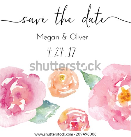 Save The Date Calligraphy Text With Vector Watercolor Flowers