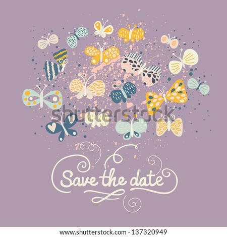 Save the date card. Cartoon butterflies in vector. Ideal modern wedding invitation in stylish colors in vector