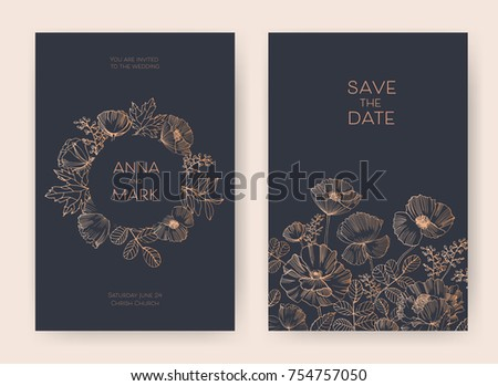 Save The Date card or wedding invitation templates decorated with elegant blooming garden flowers, inflorescences, leaves and buds hand drawn on black background. Botanical vector illustration.