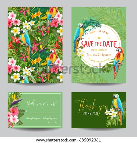 Save the Date Card Set. Tropical Flowers and Parrots Wedding Invitation in Vector