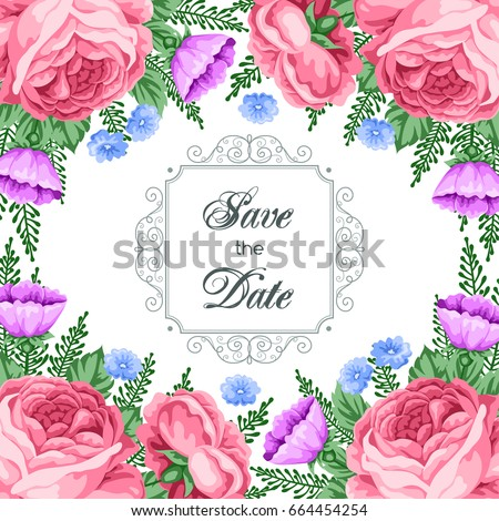 Save the Date card template with flowers. Vector Illustration in retro style #664454254