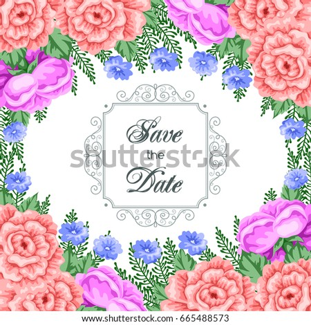 Save the Date card template with flowers. Vector Illustration in retro style #665488573
