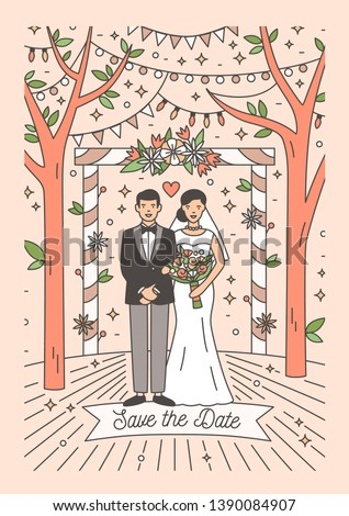 Save The Date card template with happy newlywed couple. Wedding party invitation with cute smiling bride and groom. Colorful vector illustration in modern line art style for event celebration. #1390084907