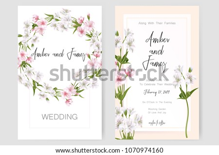 "Save the date card, wedding invitation, greeting card with beautiful Alstroemeria flowers and letters ""The Wedding of"". Set of card with flower, leaves and geometrical frame. Vector EPS10 #1070974160"
