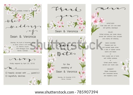 """Save the date card, wedding invitation, greeting card with beautiful flowers and letters """"Save The Date"""", """"The Wedding of"""". Vector EPS10 #785907394"""