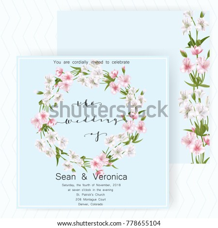 "Save the date card, wedding invitation, greeting card with beautiful flowers and letters ""The Wedding of"". Vector EPS10 #778655104"