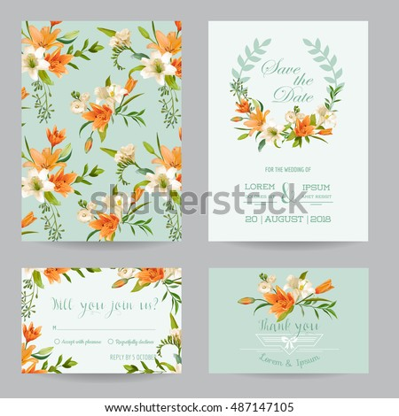 Save the Date Card - Wedding Invitation Set - Autumn Lily Floral Theme - in Vector