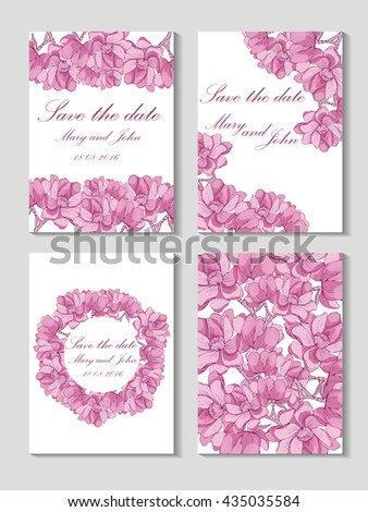 Save the date card with hand drawn flower background, front and back cover design.Vintage wedding card with a picture of pink magnolia #435035584