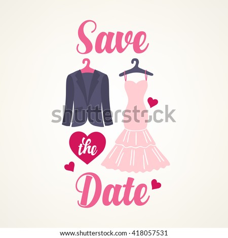 Save the date card with smoking, wedding dress and hearts on light background. Perfect for wedding invitation, cards, web page design. Vector illustration