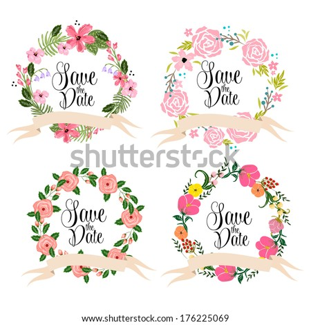 Save the date cards. Floral wedding wreath.