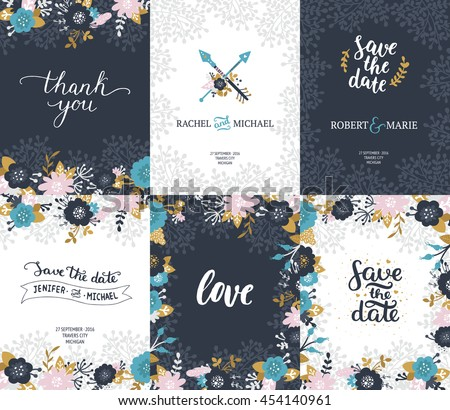 Save the date cards, wedding invitation with hand drawn lettering, arrows, feathers, flowers, branches and gold decorative elements. Floral invites, boho style