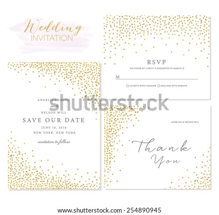 Save the Date Collection with Confetti Design. Wedding Invitation Template Layout. Wedding Invitation Template Design
