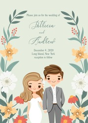 save the date , cute bride and groom cartoon with rustic wedding invitation card template