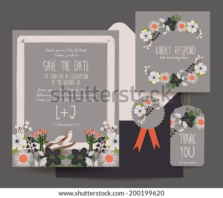 save the date flower card