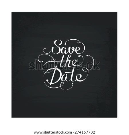 Save the date in calligraphic style, vector design element