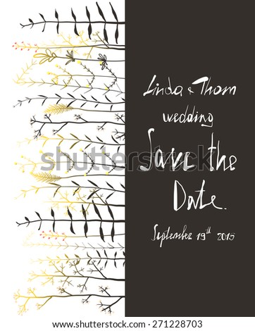 Save The Date Invitation Card Template With Flowers Wedding Card With Horizontal Grass On Black