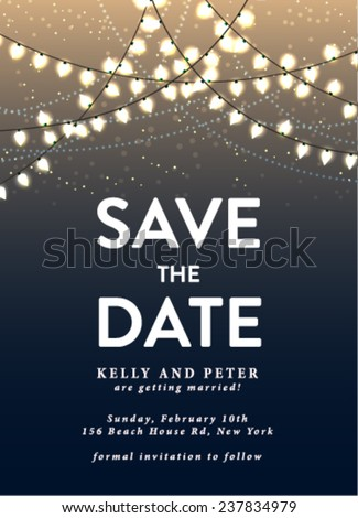 Shutterstock Save the Date Invitation Card with Holiday Lights