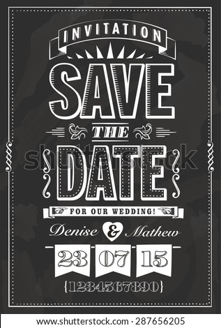 Save the date invitation in chalk style